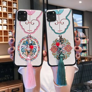 Relief Chinese Style Flower Patterned Phone Cases with Tassel Pendant for Iphone 11 Pro ProMax 2019 Soft Silicon Cases Covers