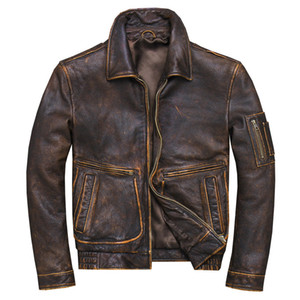 2019 Vintage Brown Men American Pilot Leather Jacket Plus Size XXXXL Genuine Cowhide Spring Aviator Coat FREE SHIPPING