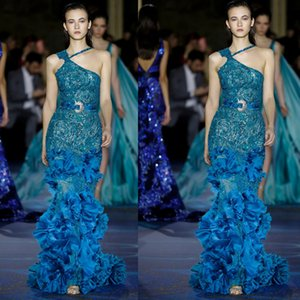 Unique Designer One Shoulder Evening Dresses 2019 New Full Beaded Long Mermaid Pageant Prom Gowns 3D Flower Runway Fashion Dresses on Sale