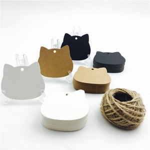 100pcs lot Cat Head White Black Brown Kraft Paper Tags Craft Blank Price Hang Tag Christmas Party Gift Cards 5.2*6.5cm