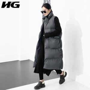 Wholesale HG Winter Korea Fashion New Women Mandarin Collar Full Sleeve Long Single Breasted Long Casual Pocket Vest WBB1051