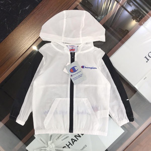 2019 brand summer coat girls boys jackets Windbreaker kids Sunscreen clothing Fashion stripe kids tracksuits casual hooded outerwear Fi-la1 on Sale
