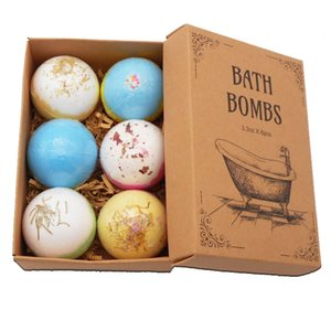Wholesale Bath Ball Dried Flowers Rainbow Bath Salt Ball Set Bubble Explosion Salt Bubble Bomb Lavender Pack
