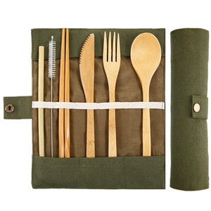 Bamboo Utensils Cutlery Set Reusable Cutlery Travel Set Eco-Friendly Wooden Silverware for Kids & Adults Outdoor Portable Utensils with Case