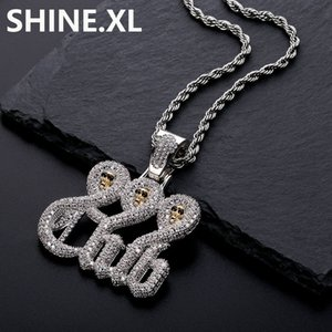 Wholesale Iced Out Gold Skull Club Pendant Necklace Micro Paved Lab Diamond with Free Rope Chain