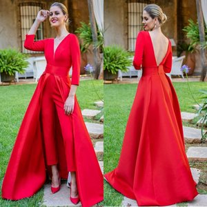 Dubai Red Jumpsuits Formal Evening Dresses With Detachable Skirt V Neck Backless Prom Dresses 3 4 Long Sleeves Party Wear Pants for Women on Sale