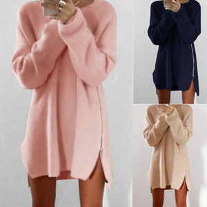 Wholesale Sexy Womens Ladies Winter Long Sleeve zipper Jumper Tops Fashion Girls Knitted Oversized Baggy Sweater Casual Loose Tunic Jumpers Mini Dress