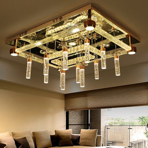 Luxury living room crystal lamp round rectangle LED Ceiling Lights personality originality modern dining room lights LLFA