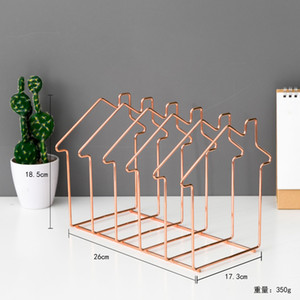 Magazine Holder Rose Gold House Shape File Sorter Metal 5 Slot Desk Organizer Rack for Document Folder Letter and Book