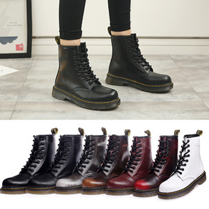 Wholesale 2018 Fashion Women Punk Short Ankle Boots Top Quality Genuine Leather Lace Up Couple Shoes Plus Size Round Toe Solid Riding Boot