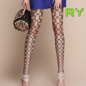 Wholesale Fashion Leggings Sexy Skin Tone Stylish Elastic Lace Pattern sided Printing Pantyhose Stockings Tight Socks