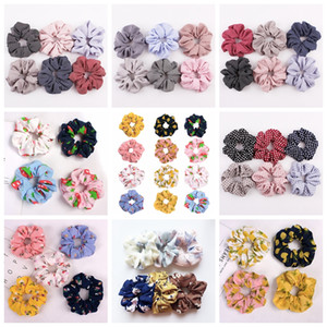 Wholesale 140 design Lady girl Hair Scrunchy Ring Elastic Hair Bands zebra floral grid Large intestine Sports Dance Scrunchie satin velvet Hairband