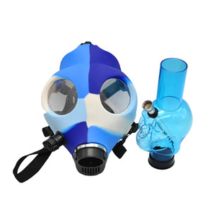 Wholesale Gas Mask Hookah Silicone Water Pipes Acrylic Bongs Hookah Pipes Solid and Colored Silicon Mask Bongs