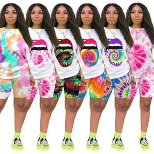 Wholesale lip ties resale online - Women lip print Sweatsuit tie dye two piece set short sleeve tee shirt mini shorts casual outfits summer clothing sports jogger suit