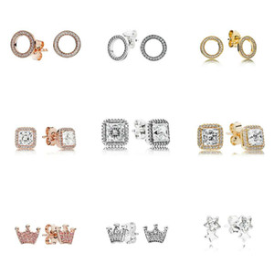 Wholesale 925 Sterling Silver Square Big CZ Diamond Earring Fit Pandora Wedding Jewelry Gold Rose Gold Plated Stud Earring Women Earrings Accessories