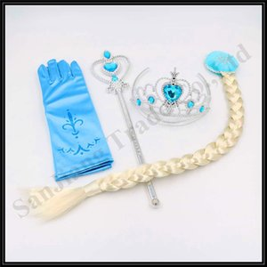 Wholesale Children Snow Queen Cosplay Costume Crown wig magic wand Stick Gloves Set Kid Girls Princess Christmas Party Accessory HotA110703