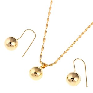 Trendy Simple High Polished Ball Pendant Necklace Earrings African Beads Jewelry Sets