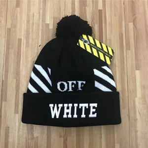wholesale Newest Design High quality embroidery Autumn winter Black white beanies hat unisex keep warm knitted warm skull cap brand beanies