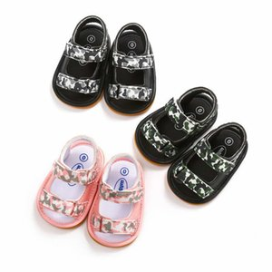 Wholesale 3 colors new arrivals Soft bottom anti skid baby sandal kids girl Camouflage Stripped baby First Walkers shoes