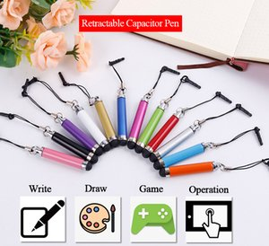Wholesale Universal Mini Flexible Capacitive Stylus touch Pen Stretched Retractable pens with Dust plug For iphone for Samsung for Tablet PC