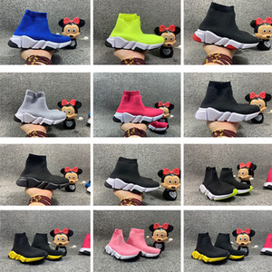 zapatillas de chicos al por mayor-Niños infantiles de punto Sock Sock Corredor de punto Mid High Running Shoes Black Trainers Wine Red Sneaker Child Girls Boys Sports Shoes