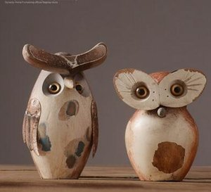 Wholesale American retro resin owl ornaments furnishings living room porch decorations study room model soft decorations