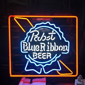 Wholesale Custom Rabit Blue Ribbon BEER Led Glass Tube Neon Signs Lamp Lights Advertising Display Bar Decoration Sign Metal Frame