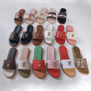 Wholesale indoor locks for sale - Group buy women sandal lock it flat mule Slippers Genuine leather slides Summer Flat Flip Flops Black White Blue Slides Chaussures Shoes size US