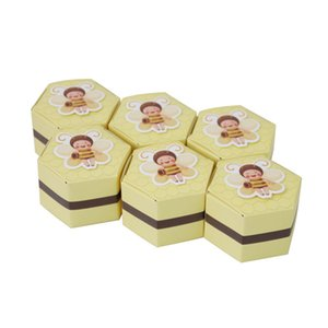 Wholesale 50Pcs European Yellow Bee Favors Hexagon Candy Boxes Baptism Kids Shower Christmas Wedding Birthday Party Chocolate Supplies