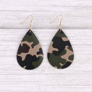 BOHO Style Camouflage Painted Leather Teardrop Dangle Drop Earrings for Women Military Leather Teardrop Water Drop Earrings