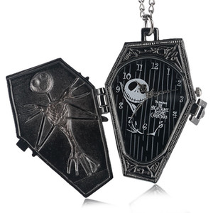Wholesale Vintage Gothic The Burton s Nightmare Before Christmas Dial Quartz Pocket Watch Pendant Necklace Chain Gifts for Men Women Kids