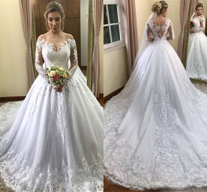 Modest White Long Sleeve Wedding Dresses 2019 Newest Off Shoulder Lace Appliqued Bridal Gowns With Court Train Plus Size Maternity Dress