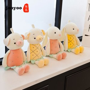 Wholesale New Creative Down Cotton Fruit Zoo Pineapple Pig And Strawberry Rabbit Plush Toy Doll For Children s Gifts jooyoo