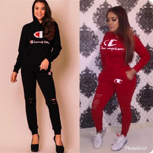 Wholesale Champions Letter Print Emboridery Ripped Hoodie Pants Women Two Piece Set Spring Fall Joggers Jogging Suits S XL Red Black New C3272