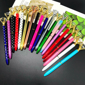 Wholesale Hot Newest diamond Crystal Pen Gem Ballpoint pen ring wedding Office Supplie Metal ring roller ball pen