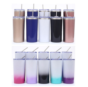 Wholesale Stainless Steel Skinny Tumbler OZ Straight Cup Beer Coffee Mug Glasses With Lids And Straws Vacuum Insulated Water Bottle