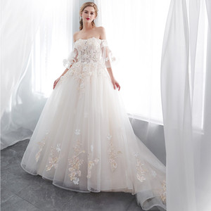 Wholesale Off The Shoulder Lace A Line Dresses 2019 Elegant Flare Short Sleeves Tulle Applique Beaded Sweep Train Wedding Bridal Dresses CPS1003