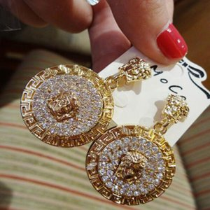 Exaggerated full diamond earrings Round lion head earrings female gift party high quality jewelry accessories