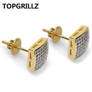 Wholesale TOPGRILLZ Gold Color Iced Out Micro Pave Cubic Zircon Camber Stud Earrings Men Trend Hip Hop Jewelry Gifts With Srew Back Buckle