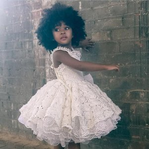 Wholesale Lovely Flower Girls Dresses Ruffles Beads Spaghetti Strap Lace Appliques First Communion Dresses Knee Length Cute Girls Pageant Dresses