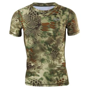 Snake Pattern Camouflage Print Tshirts Japan New Fashion Popular Black Green Army Military Training Camping Quick Drying Tops Tees on Sale