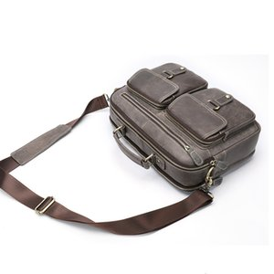 Wholesale Gray Men Leather quot Laptop Bag Business Luxury Handbags Briefcase Crossbody Bags Mens Genuine Leather Work Bags For Man Handbag
