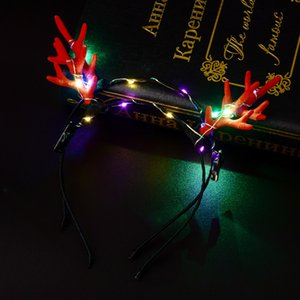 Wholesale 2018 New Antlers LED Blinking Headband Kids Adults Flashing Deer Horn Hairband Hair Accessories Halloween Glow Party Supplies