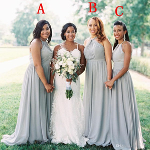 bb6b91a8c8d3 Cheap Summer Beach Bohemian Chiffon Long Bridesmaid Dresses 2019 Floor  Length Maid Of Honor Gowns Plus