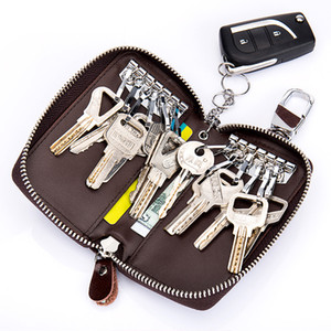 Wholesale 2019 Fashion Key Holder Genuine Cow Leather Car Key Wallets Housekeeper Organizer Keychain Case Bag Pouch