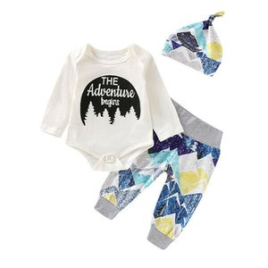 Wholesale 2019 Autumn Newborn Baby Boys Girl Long Sleeve The Adventure begins Romper Tops Pants Outfits Clothes