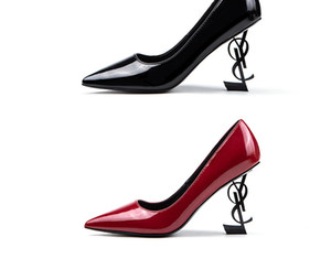 Wholesale 2019 Wedding Bridal Shoes Unique Heels Brand Dress Shoes Patent leather Sexy Pointed toe In Stock Wedding Party Shoes T Show Hot Sale