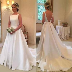 Wholesale Backless Wedding Dresses 2019 Sweep Train with Back Bow A-line Bridal Wedding Gowns robe de mariee