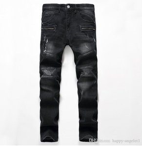 Wholesale Men s Distressed Jeans Black Dark Blue Fashion Designer Slim Fit Motorcycle Moto Biker Causal Mens Denim Pants Hip Hop Men Jeans A1006