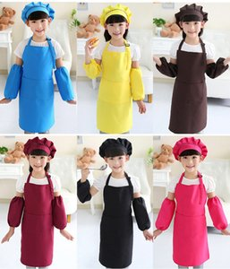 Wholesale Kids Aprons Hat Sleeves Set Pocket Craft Cooking Baking Art Painting Kids Kitchen Dining Bib Children Apron colors
